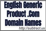 English generic product .Com domain names