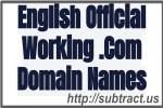 English Official Working .Com Domain Names